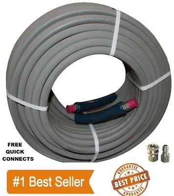 """100 ft 3/8"""" Gray Non-Marking 4000psi Pressure Washer Hose - FREE SHIPPING"""