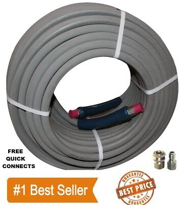 "Pressure Washer Parts 100 ft 3/8"" Gray Non-Marking 4000psi Pressure Hose Free QC"
