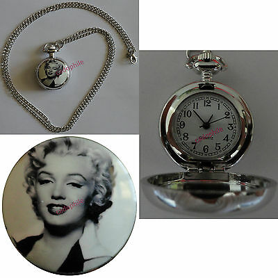 Pendentif Pendulette Chaine Style Montre Gousset Femme Marilyn Monroe N/b Watch