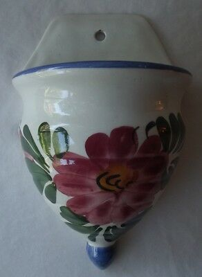 Beautiful Vintage Hand Painted Floral Ceramic Wall Pocket