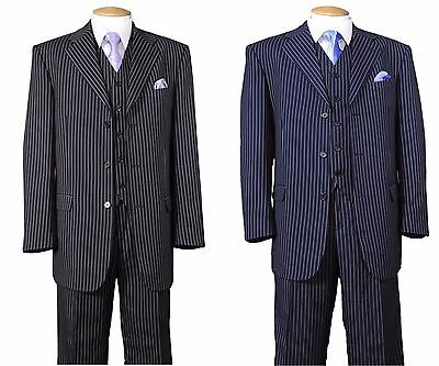 New Men's 3 piece with vest Classic Luxurious Wool Feel Suits Pinstriped 5802V