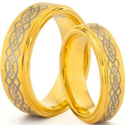 Size 5-15 Gold Wedding Ring Celtic Puzzle Set Anniversary Pair Stainless Steel