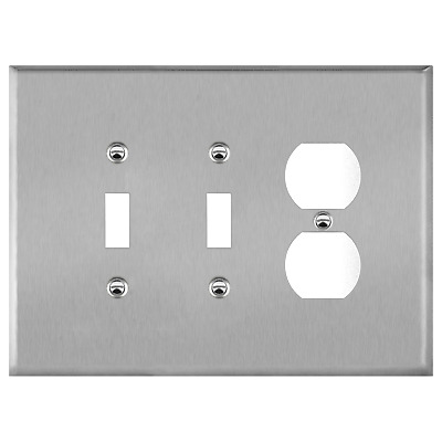 Stainless Steel 3-Gang Cover 2-Toggle 1-Duplex Combination Oversized Wall Plate
