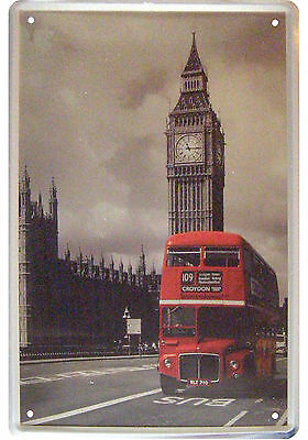 London Routemaster Und Big Ben Teilkoloriertes Motiv Im Brushed Metal Look