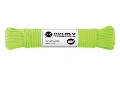 Green 550LB 7 Strand 100% Polyester Type III Import Paracord Rope 100' 30802