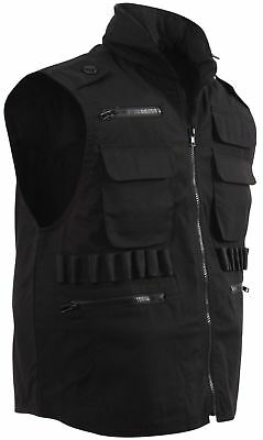 Black Military Tactical Ranger Vest With Hood Rothco 7557 Brand New