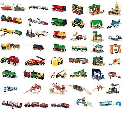 Brand New Wooden BRIO Collection Battery Action Freight Train inc station Bridge