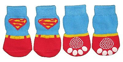 Non-Slip Dog Socks Super Man - Small, Medium, Large & XL (3.5kg to 30kg)