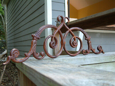 TWO LARGE FRENCH CURLS Iron Cast  Wrought Garden Fence