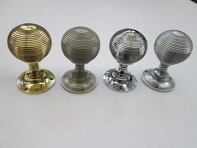 1 pair REEDED RIMMED RIBBED QUEEN ANNE BEEHIVE MORTICE LEVER DOOR KNOBS HANDLES