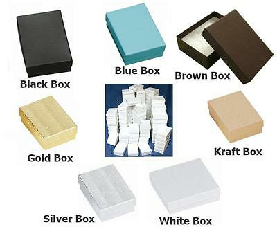 "100 COTTONFILLED BOXES 3.25"" x2.25"" x1"" for Jewelry, Gifts, etc You Choose Color"