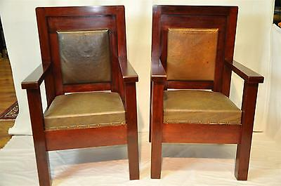 Rare Pair of Mission Cherry Lodge Chairs Original Vinyl by Henderson Ames Co.
