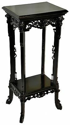 Antique Anglo Chinese Ebonized Pedestal Plant Stand, Guardian Lions, Fu Dogs