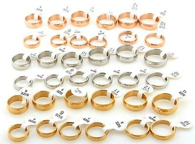 Wedding Rings Bands Bride Groom Men Women Gold Silver Rose Ring His Hers unisex