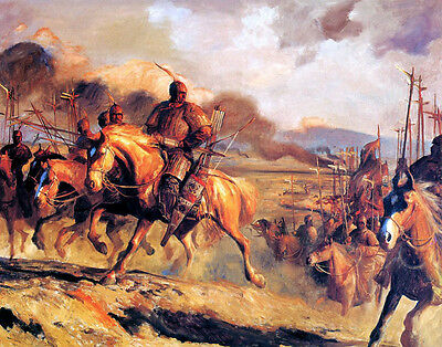 Art Oil painting Ancient Chinese army on war horses On the battlefield canvas