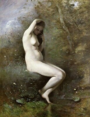 Wonderful Oil painting young woman toilet by river in summer season on canvas