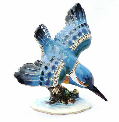 Kingfisher  Bird Design Enamel Pill Trinket Jewelled Box Collectable  Boxed
