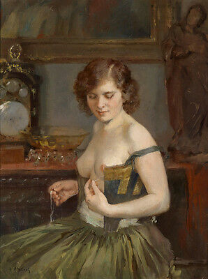 Fine art Oil painting Beautiful young woman fixes her clothes on canvas