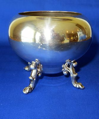ANTIQUE SILVER OVER COPPER OPEN SUGAR BOWL WITH FEET ENGLAND/BRITISH