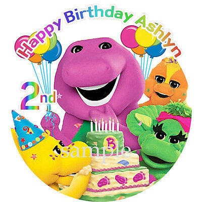BARNEY Edible ICING Image Birthday CAKE Topper Decoration Dinosaur Free Shipping