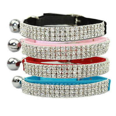 BLING Cat Safety Collar ELEGANT Diamanté Crystal Suede 5 Colours~30cm