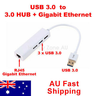 USB 3.0 to RJ45 Gigabit Ethernet Adapter 1000Mbps with 3 Port HUB PC Laptop MAC