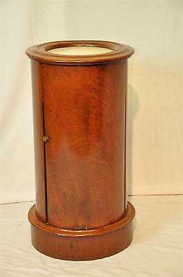 Antique Colonial Mahogany Round Barrel Cabinet Original Finish, Marble c. 1800's