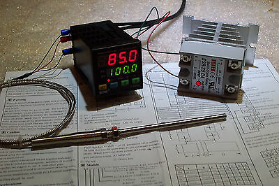 Digital Pid Temp Controller  F & C  25Amp Ssr With-Heatsink And Pt-100 Probe