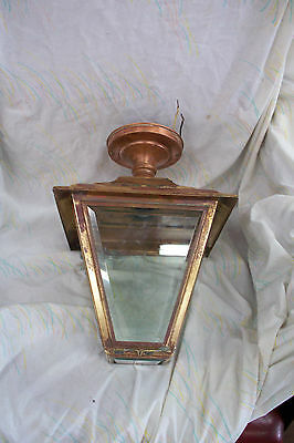 """Vintage Large Brass & Etched Beveled Glass Ceiling Mount Porch Lamp 15"""" Tall"""
