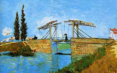 Oil painting Vincent van Gogh - Landscape with Drawbridge over the river