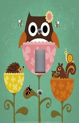 Light Switch Plate Switchplate & Outlet Covers KID'S ROOM OWL SQUIRREL HEDGEHOG