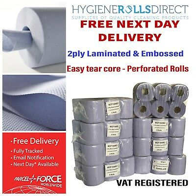 48 Rolls (8 PACKS)Blue Centre feed Rolls Embossed 2ply Wiper Paper Towel