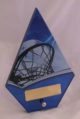 Netball Theme Glass Award  Trophy  180mm Engraved FREE