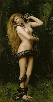 Excellent Oil painting nice naked young girl with snake Python in forest sunset