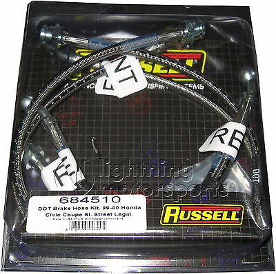 Russell 684510 Stainless Steel Brake Lines 1999-2000 Honda Civic Si