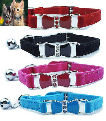 Cat Collar Gorgeous Enamel Bow & Crystal Suede Safety~Black-Blue-Pink-Red~30cm