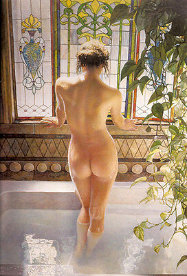 """Beautiful oil painting young nice woman in her Morning bath with Green dill 36"""""""