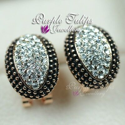 18K Rose Gold Plated Black&White Stud Earrings Made With Swarovski Crystal