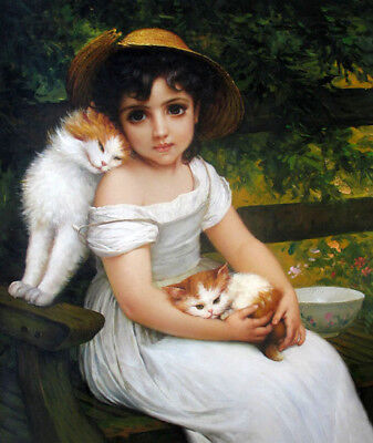 Dream-art Oil painting lovely little girl with her pets cats in view on canvas