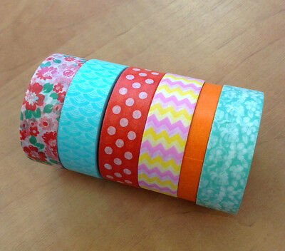 Washi tape 6 10m rolls decorative patterned paper craft cardmaking scrapbooking