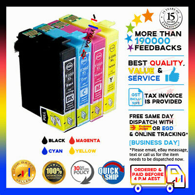 10 x Epson 200XL 2001XL-2004XL Compatible Ink w/chip for EPSON XP200 XP300 XP400