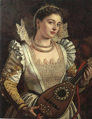 Huge Oil painting beautiful young noblewoman Bianca Italian lady with Guitar