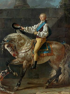 Huge Oil painting Horseman portrait - Count Potocki on his white horse & dog