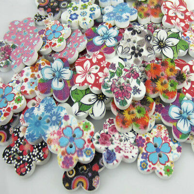 Free Shipping 100PCS Mixed Flower Pattern Painting  Wood Buttons 17.0mm