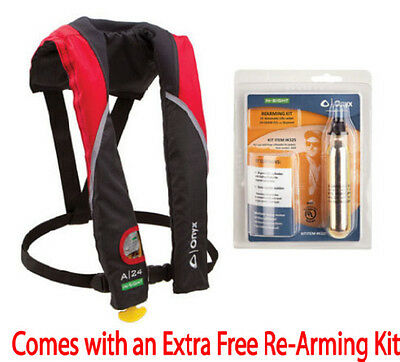 Onyx A-24 In-Sight Red Auto / Manual Inflatable Life Jacket  - Part # 3205RED00