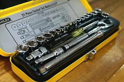 "Stanley 21 Piece 1/4"" Drive Socket Set Metric & Imperial"
