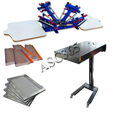 2 Station 4 Color Screen Printing Press Flash Dryer Aluminum Frame Squeegee Kit
