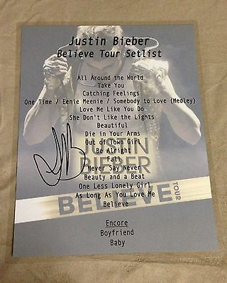 Justin Bieber Believe World Tour Signed Setlist Laminate Frame W/ Your Tickets!