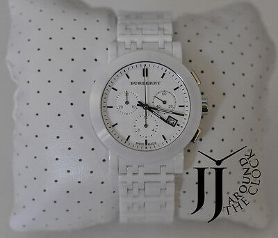 New Burberry Watch Logo Heritage Men White Ceramic Swiss Box Bu1770 40Mm