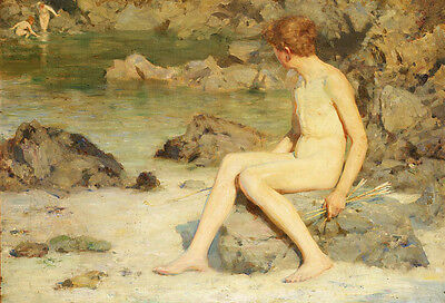 GAY Oil painting Henry-Scott-Tuke nude young boys The-Green-Waterways in view